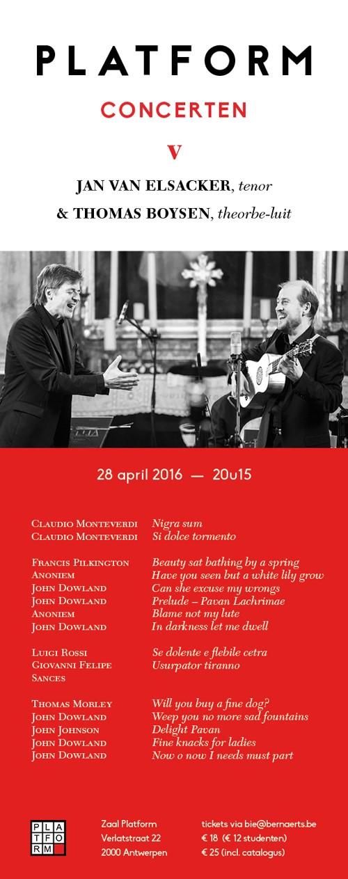 Jan Van Elsacker (tenor) en Thomas Boysen (theorbe-luit) @ Zaal Platform | Antwerpen | Vlaanderen | België